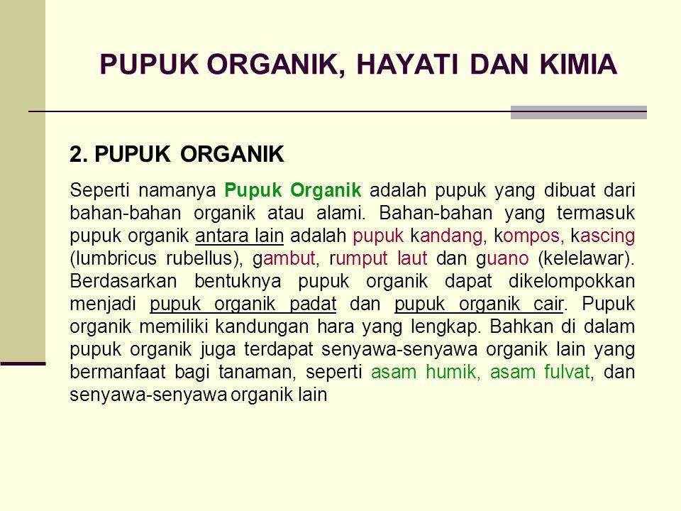 PUPUK ORGANIK, HAYATI DAN KIMIA 2. PUPUK ORGANIK Seperti namanya Pupuk Organik adalah pupuk yang dibuat dari bahan-bahan organik atau alami. Bahan-bah