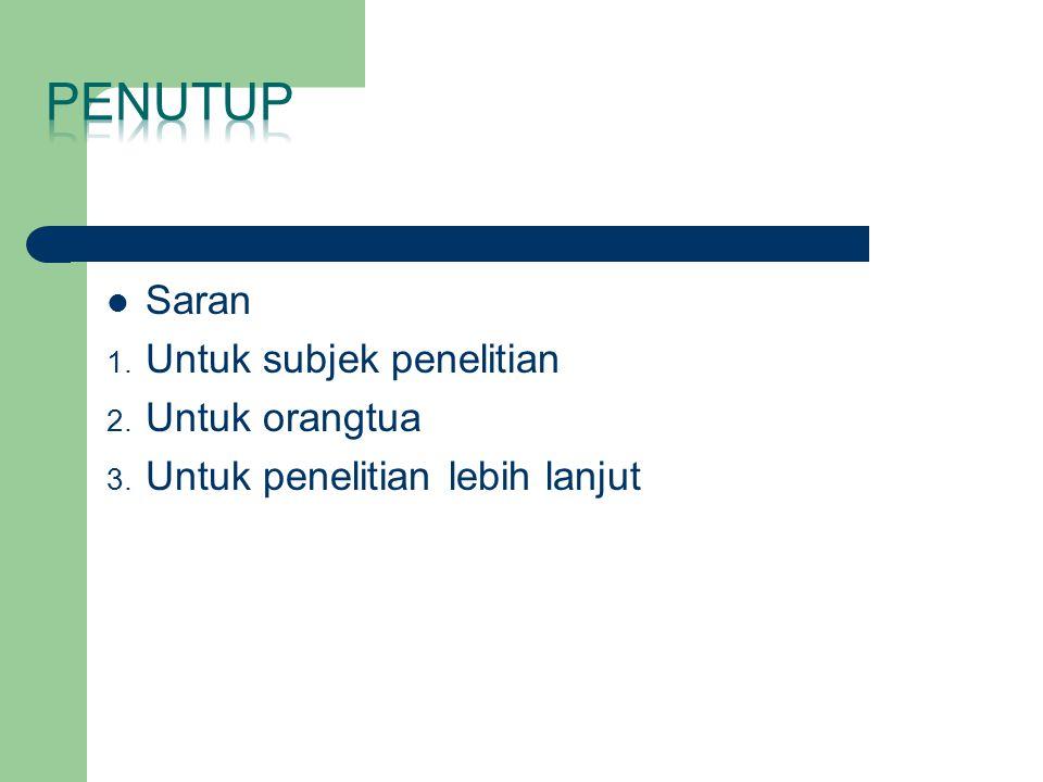 Saran 1. Untuk subjek penelitian 2. Untuk orangtua 3. Untuk penelitian lebih lanjut