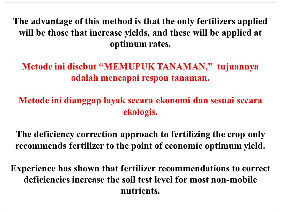 The advantage of this method is that the only fertilizers applied will be those that increase yields, and these will be applied at optimum rates. Meto