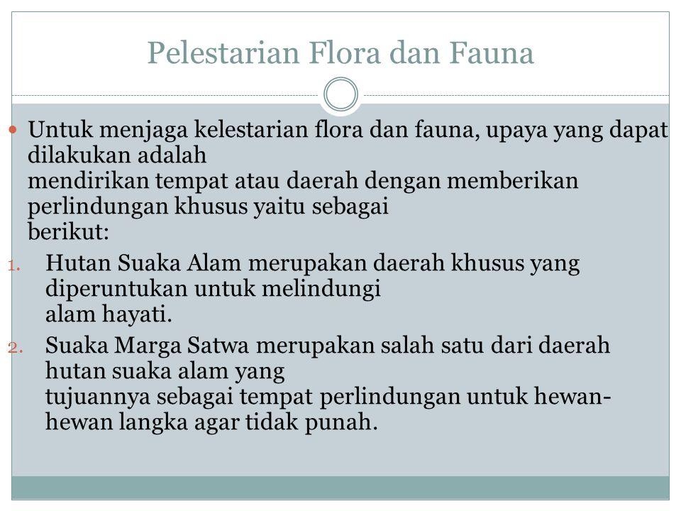 Pelestarian Flora dan Fauna Untuk menjaga kelestarian flora dan fauna, upaya yang dapat dilakukan adalah mendirikan tempat atau daerah dengan memberikan perlindungan khusus yaitu sebagai berikut: 1.