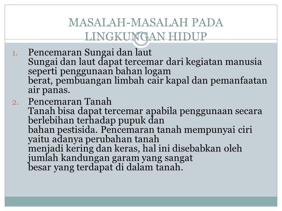 MASALAH-MASALAH PADA LINGKUNGAN HIDUP 1.