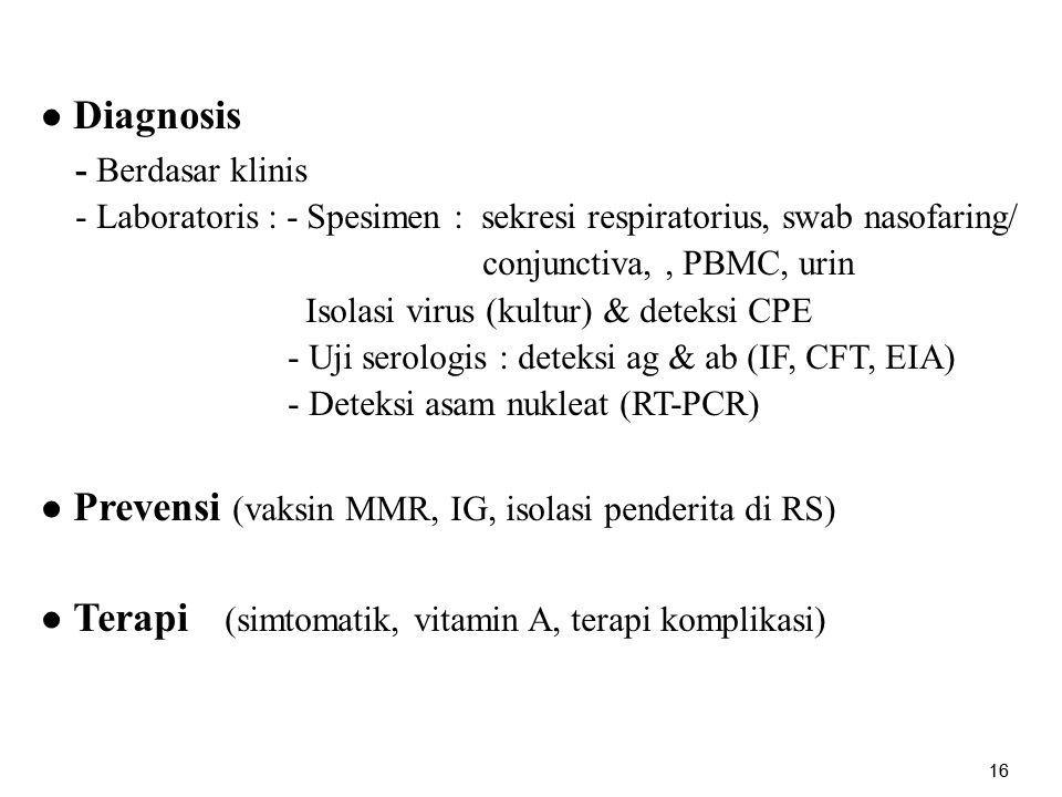 16 ● Diagnosis - Berdasar klinis - Laboratoris : - Spesimen : sekresi respiratorius, swab nasofaring/ conjunctiva,, PBMC, urin Isolasi virus (kultur)
