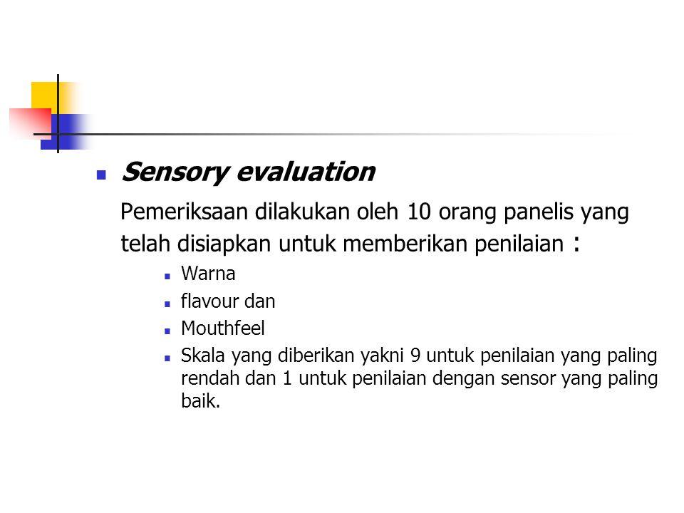 Sensory evaluation Pemeriksaan dilakukan oleh 10 orang panelis yang telah disiapkan untuk memberikan penilaian : Warna flavour dan Mouthfeel Skala yan