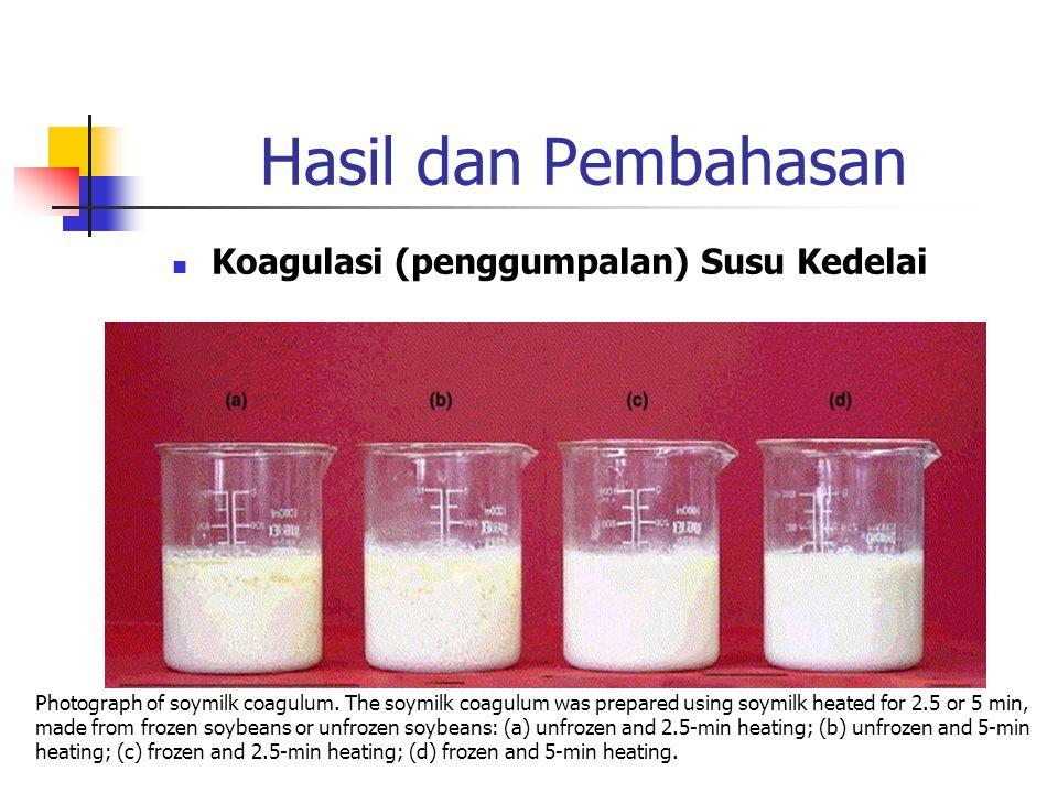 Hasil dan Pembahasan Koagulasi (penggumpalan) Susu Kedelai Photograph of soymilk coagulum. The soymilk coagulum was prepared using soymilk heated for