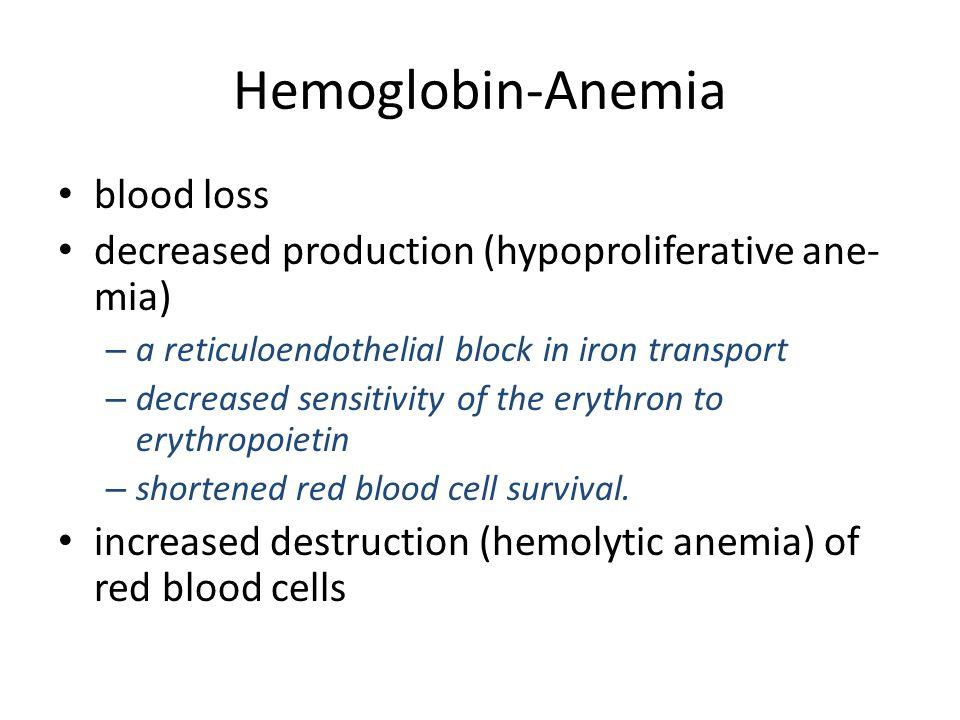 Hemoglobin-Anemia blood loss decreased production (hypoproliferative ane- mia) – a reticuloendothelial block in iron transport – decreased sensitivity
