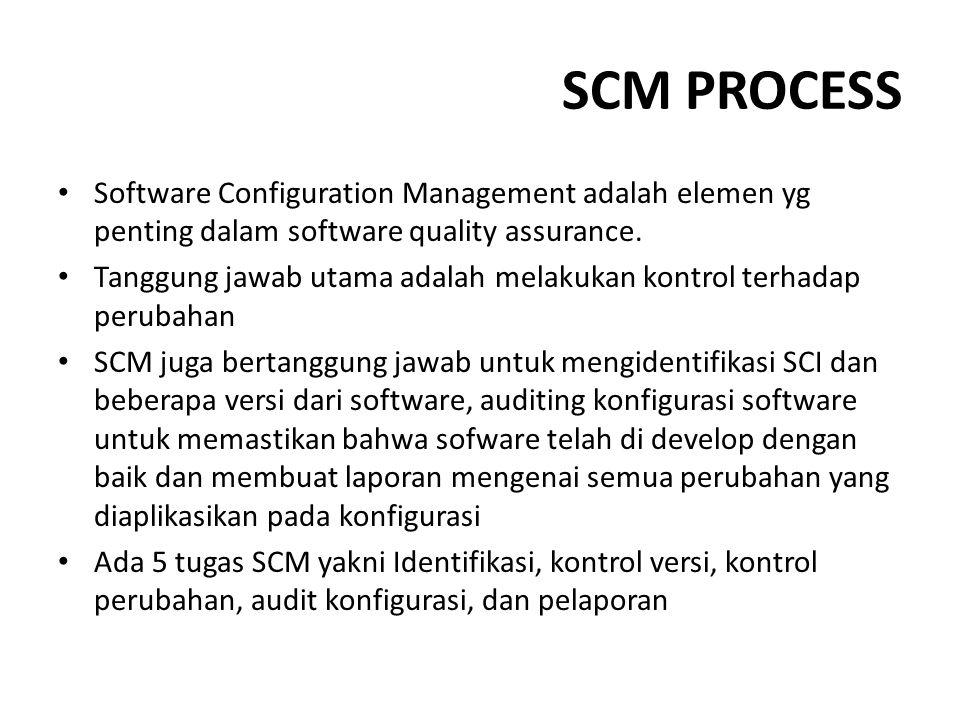 SCM PROCESS Software Configuration Management adalah elemen yg penting dalam software quality assurance. Tanggung jawab utama adalah melakukan kontrol