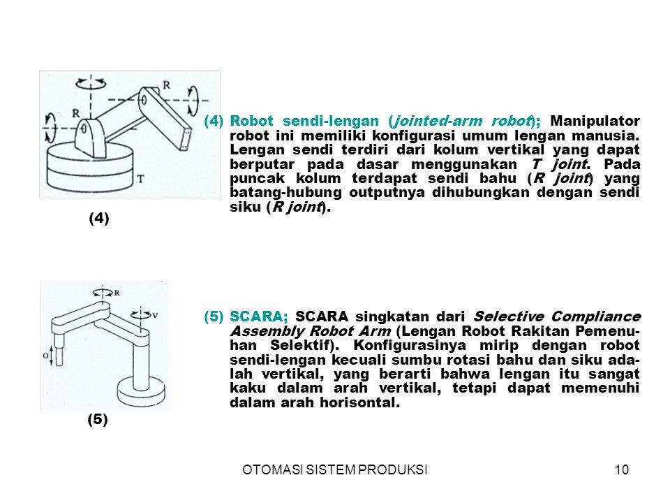 OTOMASI SISTEM PRODUKSI10 (4)  (5)  (4)Robot sendi-lengan (jointed-arm robot); Manipulator robot ini memiliki konfigurasi umum lengan manusia.