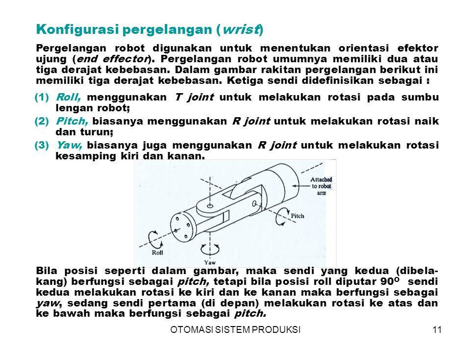 OTOMASI SISTEM PRODUKSI11 Konfigurasi pergelangan (wrist) Pergelangan robot digunakan untuk menentukan orientasi efektor ujung (end effector).