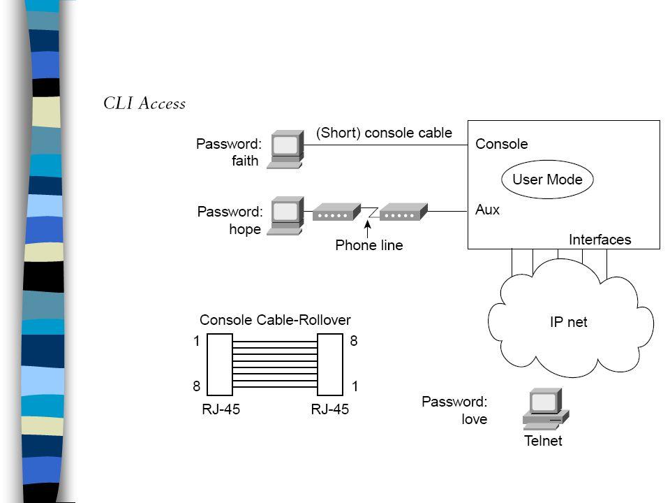 Console port -RS232 serial port seperti Com 1 dan 2 pada PC -Memiliki RJ45 konektor tapi menggunakan kabel yang berbeda – rollover cable