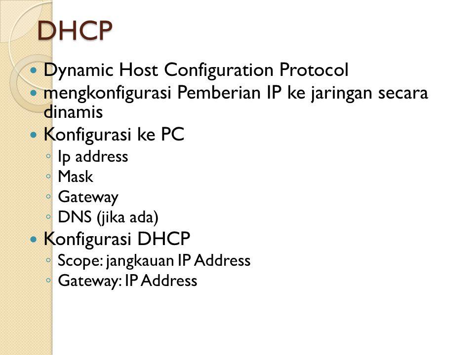 DHCP mengkonfigurasi Pemberian IP ke jaringan secara dinamis Konfigurasi ke PC ◦ Ip address ◦ Mask ◦ Gateway ◦ DNS (jika ada) Konfigurasi DHCP ◦ Scope