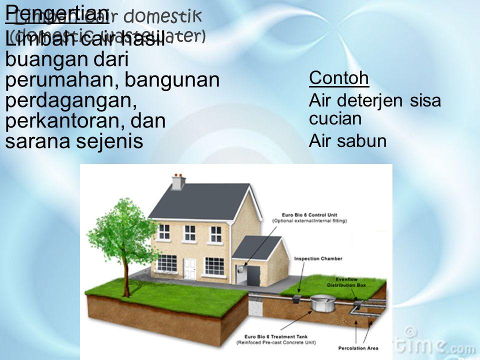 Limbah cair domestik (domestic wastewater) Pengertian Limbah cair hasil buangan dari perumahan, bangunan perdagangan, perkantoran, dan sarana sejenis Contoh Air deterjen sisa cucian Air sabun