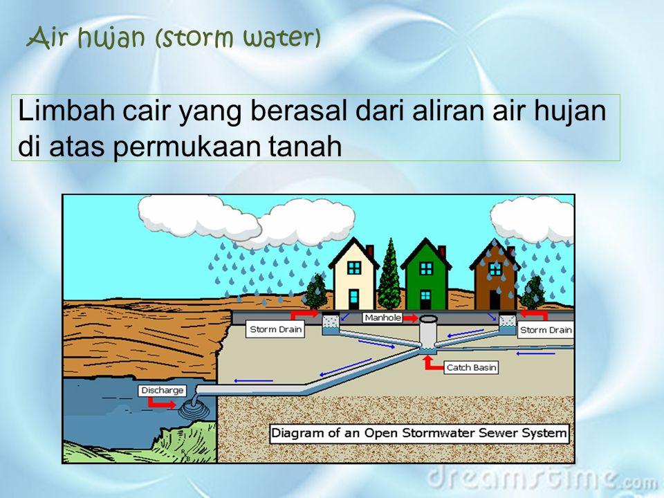 Air hujan (storm water) Limbah cair yang berasal dari aliran air hujan di atas permukaan tanah