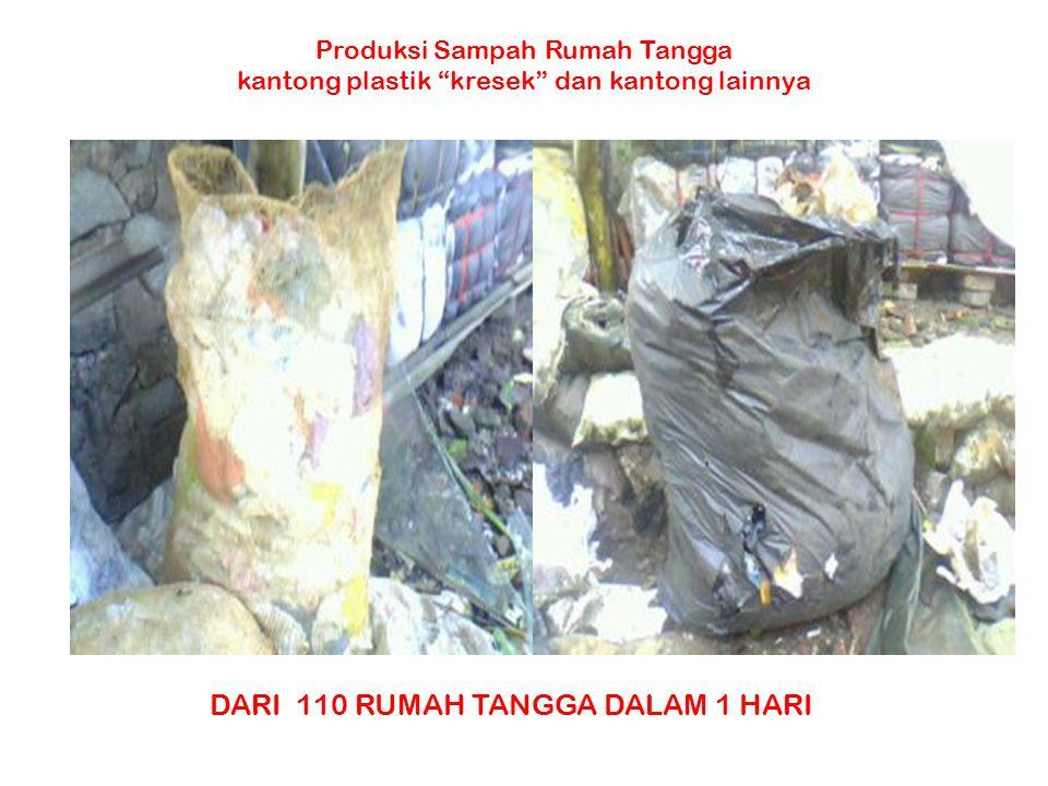"""Produksi Sampah Rumah Tangga kantong plastik """"kresek"""" dan kantong lainnya DARI 110 RUMAH TANGGA DALAM 1 HARI"""