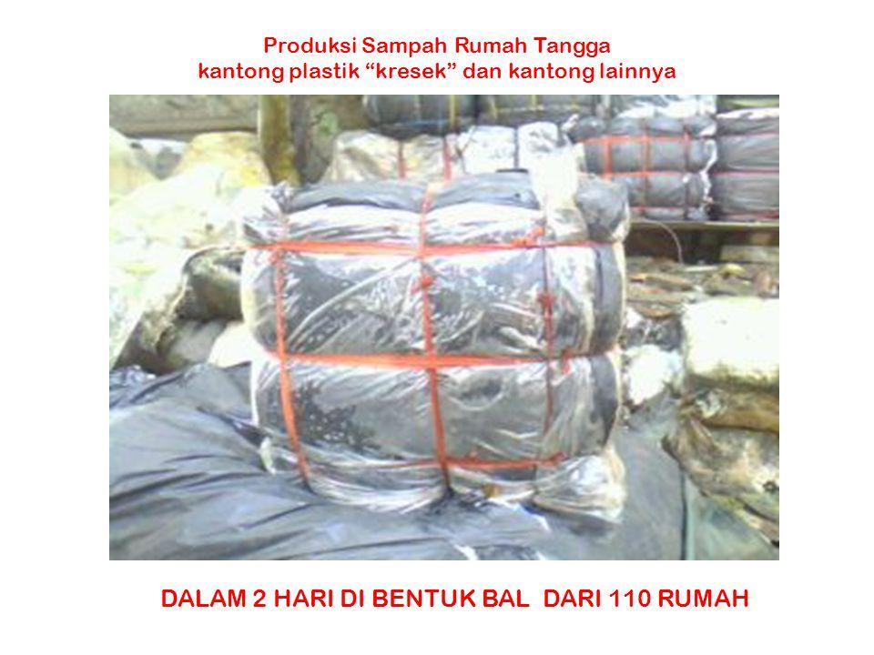"""Produksi Sampah Rumah Tangga kantong plastik """"kresek"""" dan kantong lainnya DALAM 2 HARI DI BENTUK BAL DARI 110 RUMAH"""