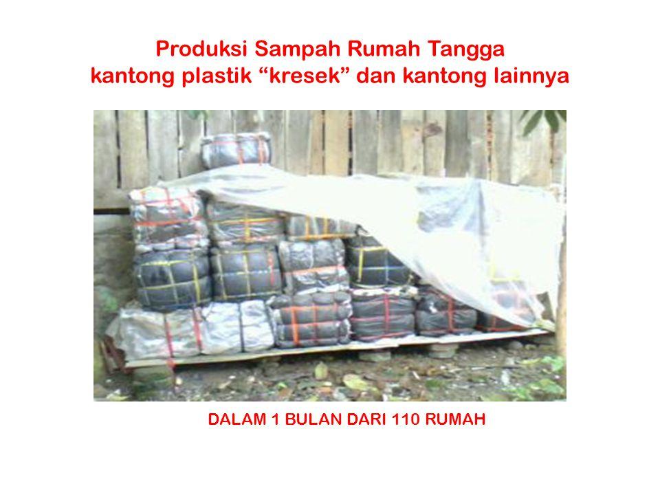 """Produksi Sampah Rumah Tangga kantong plastik """"kresek"""" dan kantong lainnya DALAM 1 BULAN DARI 110 RUMAH"""