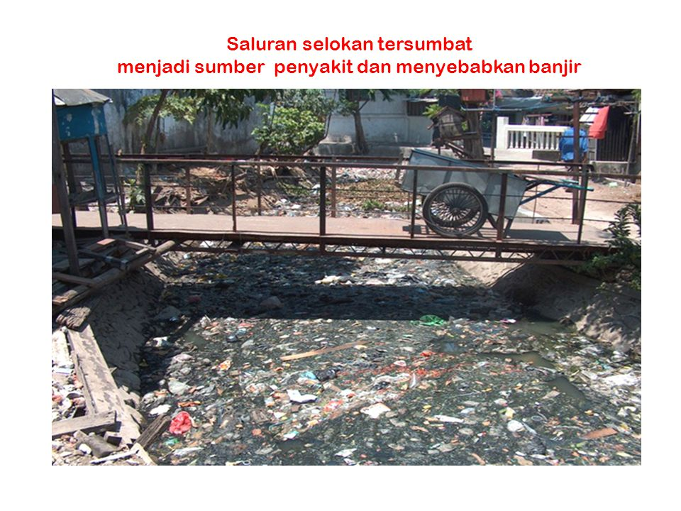 Saluran selokan tersumbat menjadi sumber penyakit dan menyebabkan banjir
