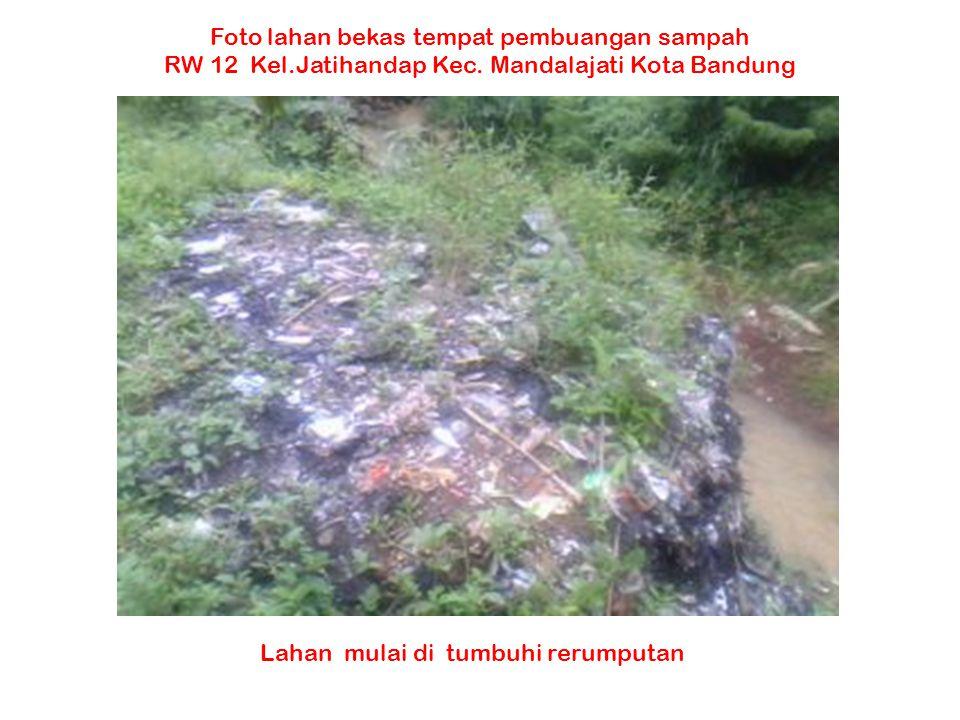 Lahan mulai di tumbuhi rerumputan Foto lahan bekas tempat pembuangan sampah RW 12 Kel.Jatihandap Kec. Mandalajati Kota Bandung