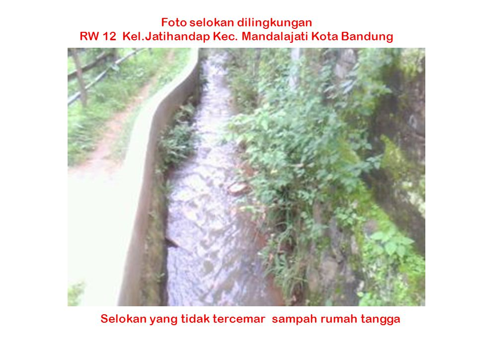 Selokan yang tidak tercemar sampah rumah tangga Foto selokan dilingkungan RW 12 Kel.Jatihandap Kec. Mandalajati Kota Bandung