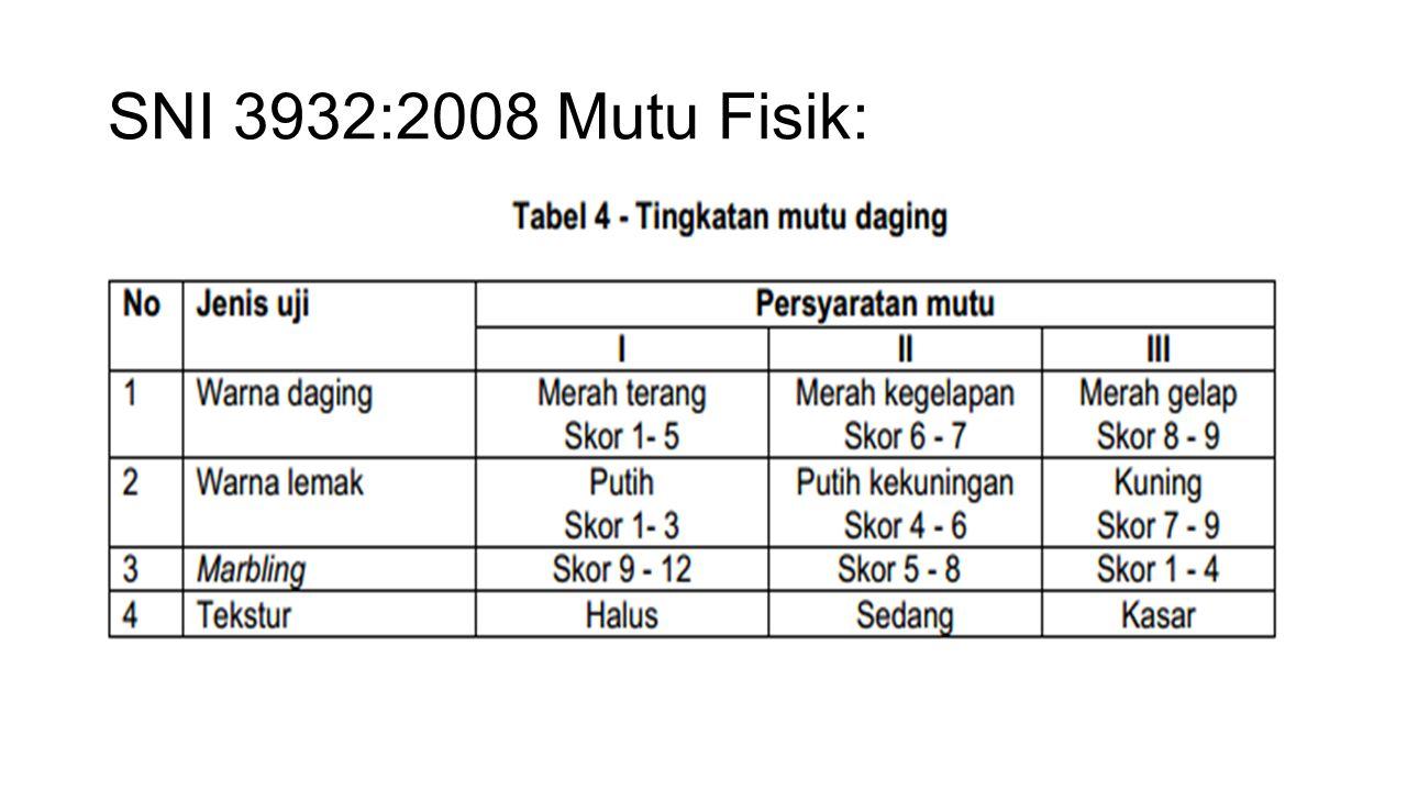 SNI 3932:2008 Mutu Fisik: