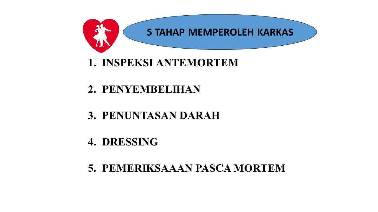5 TAHAP MEMPEROLEH KARKAS 1.INSPEKSI ANTEMORTEM 2.PENYEMBELIHAN 3.PENUNTASAN DARAH 4.DRESSING 5.PEMERIKSAAAN PASCA MORTEM