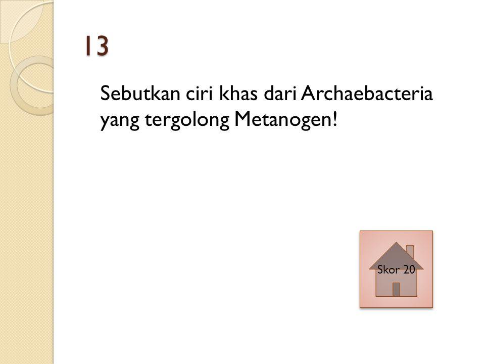 13 Sebutkan ciri khas dari Archaebacteria yang tergolong Metanogen! Skor 20