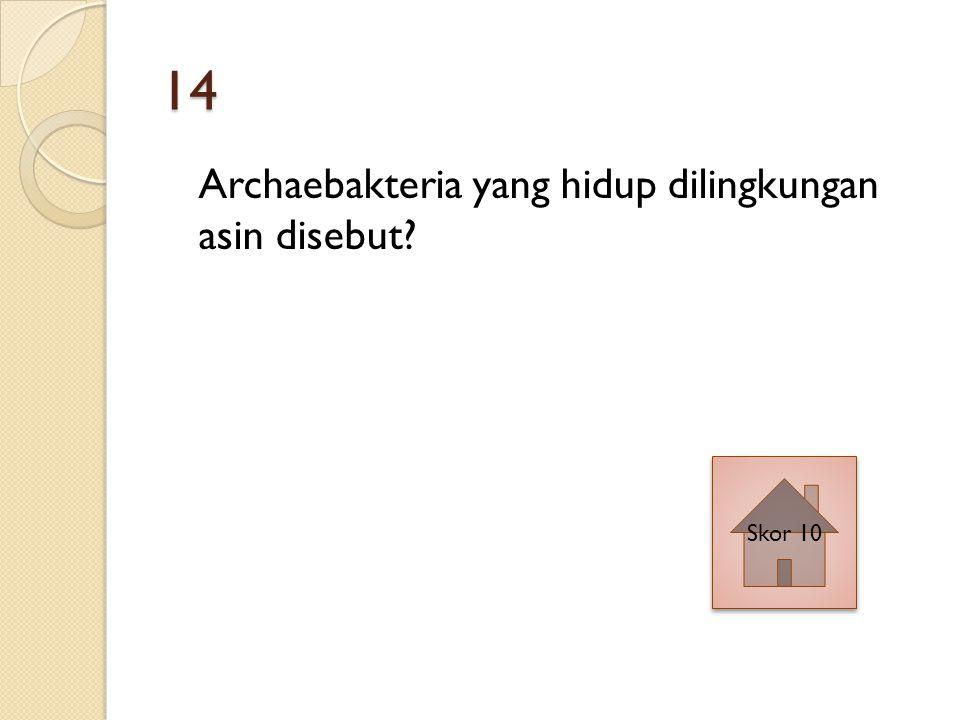 14 Archaebakteria yang hidup dilingkungan asin disebut Skor 10