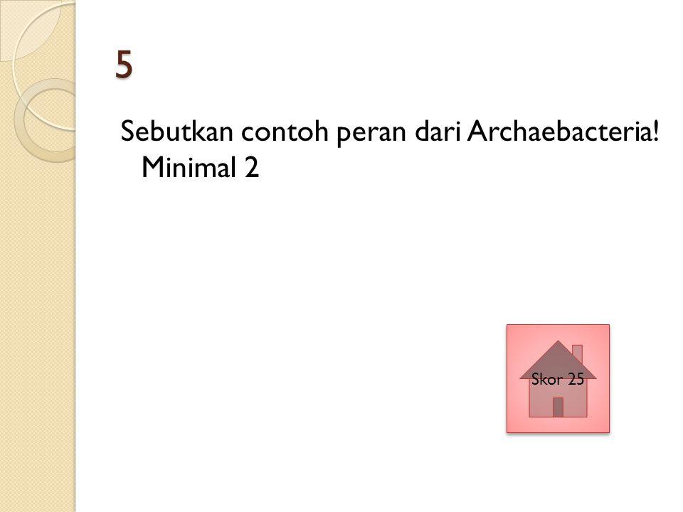5 Sebutkan contoh peran dari Archaebacteria! Minimal 2 Skor 25