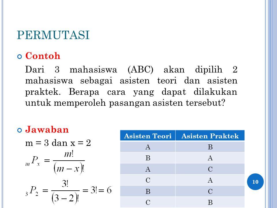 PERMUTASI Contoh Dari 3 mahasiswa (ABC) akan dipilih 2 mahasiswa sebagai asisten teori dan asisten praktek. Berapa cara yang dapat dilakukan untuk mem