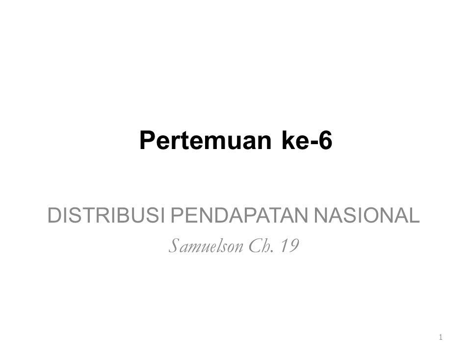 Pertemuan ke-6 DISTRIBUSI PENDAPATAN NASIONAL Samuelson Ch. 19 1
