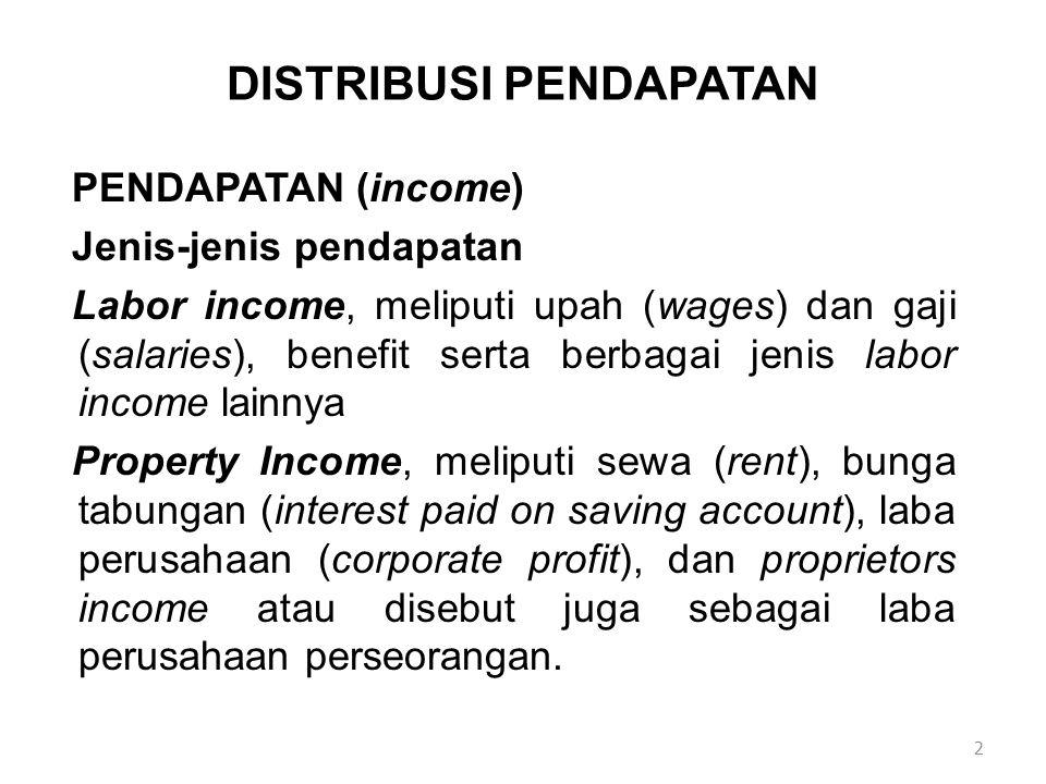DISTRIBUSI PENDAPATAN PENDAPATAN (income) Jenis-jenis pendapatan Labor income, meliputi upah (wages) dan gaji (salaries), benefit serta berbagai jenis