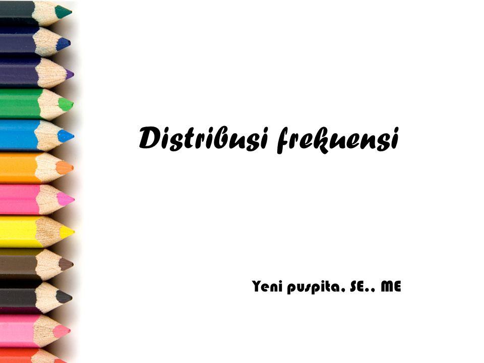 Tujuan Pembelajaran 1.Menyebutkan arti dan manfaat distribusi frekuensi 2.