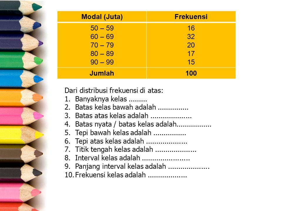 Modal (Juta)Frekuensi 50 – 59 60 – 69 70 – 79 80 – 89 90 – 99 16 32 20 17 15 Jumlah100 Dari distribusi frekuensi di atas: 1.Banyaknya kelas......... 2