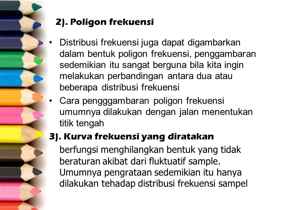 2). Poligon frekuensi Distribusi frekuensi juga dapat digambarkan dalam bentuk poligon frekuensi, penggambaran sedemikian itu sangat berguna bila kita