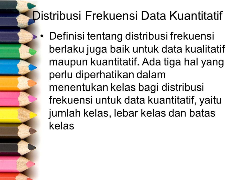 Distribusi Frekuensi Data Kuantitatif Definisi tentang distribusi frekuensi berlaku juga baik untuk data kualitatif maupun kuantitatif.