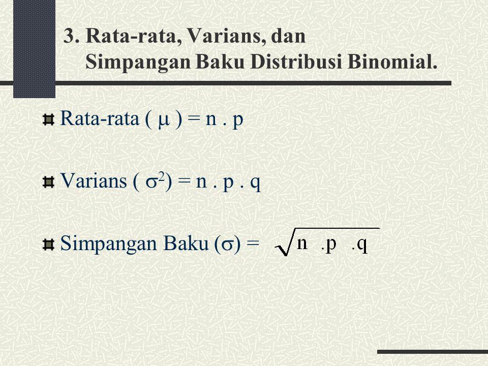 3.Rata-rata, Varians, dan Simpangan Baku Distribusi Binomial.