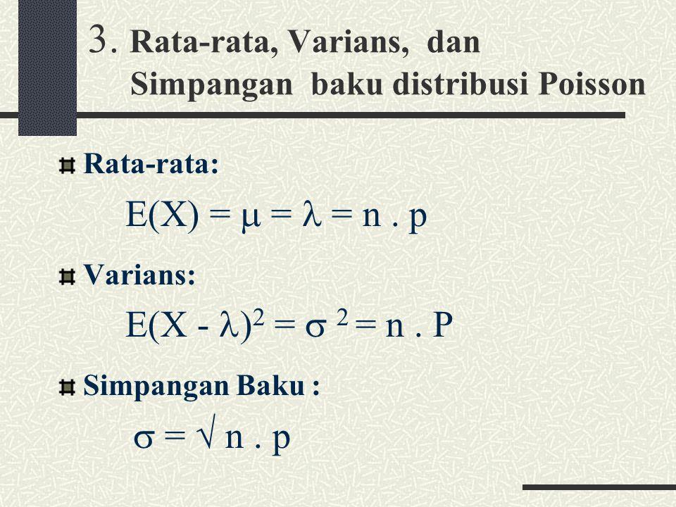 3.Rata-rata, Varians, dan Simpangan baku distribusi Poisson Rata-rata: E(X) =  = = n.