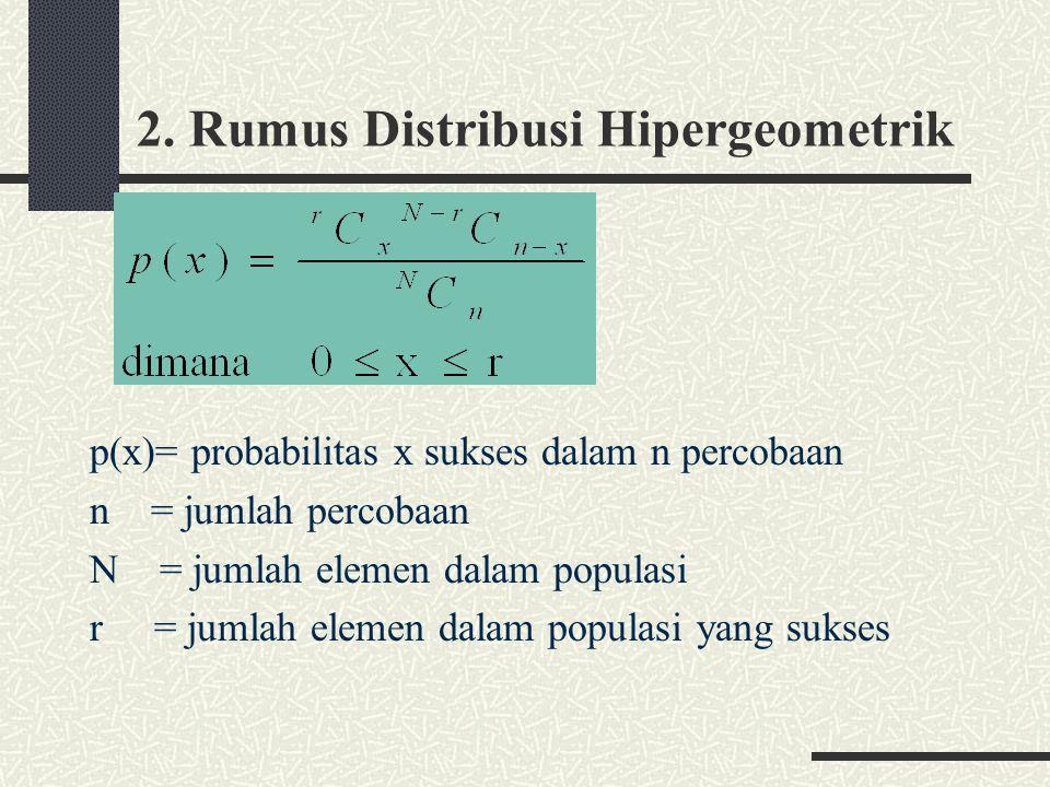 2. Rumus Distribusi Hipergeometrik p(x)= probabilitas x sukses dalam n percobaan n = jumlah percobaan N = jumlah elemen dalam populasi r = jumlah elem