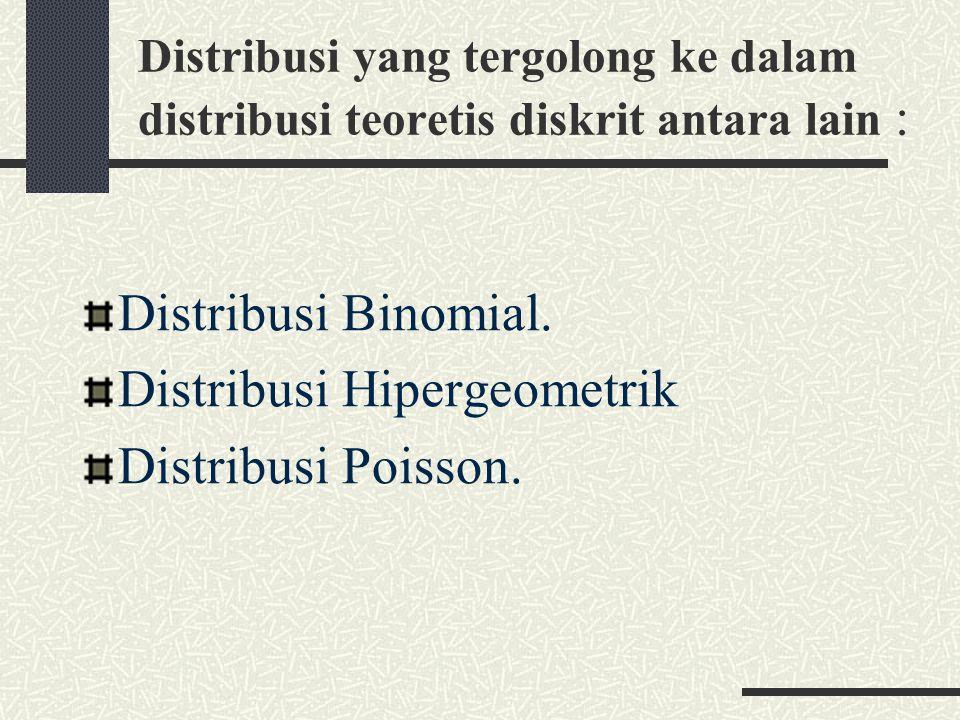 Distribusi yang tergolong ke dalam distribusi teoretis diskrit antara lain : Distribusi Binomial.
