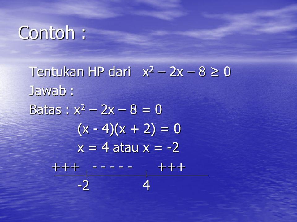 Metode grafik Langkah-langkah: Langkah-langkah: –Tentukan batas-batasnya dengan mengubah ke dalam persamaan kuadrat –Buatlah garis bilangan dan masukk
