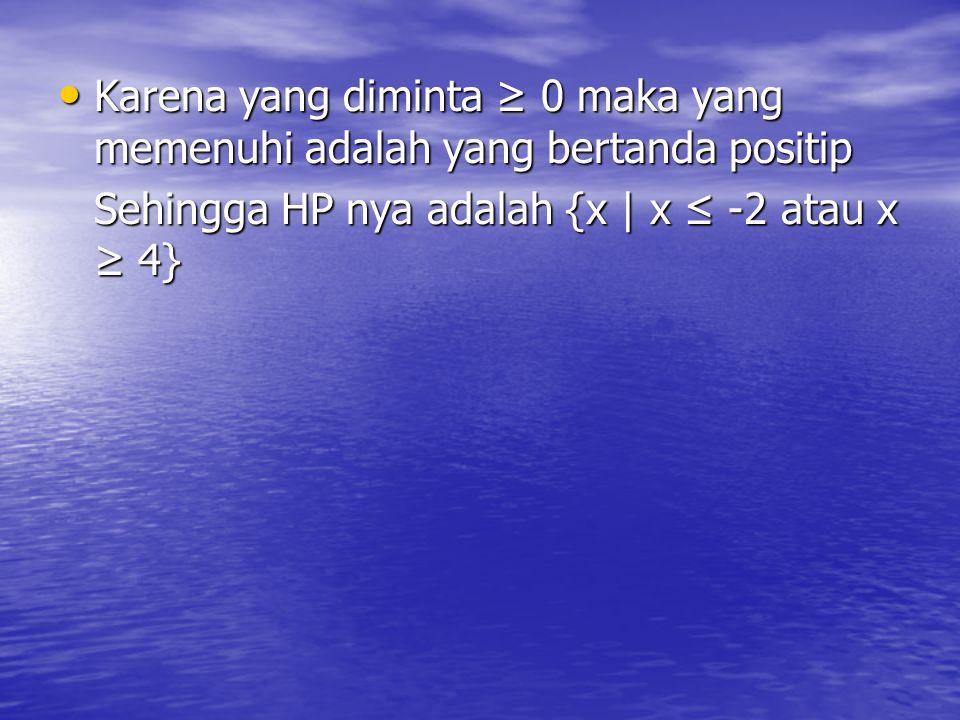 Contoh : Tentukan HP dari x 2 – 2x – 8 ≥ 0 Jawab : Batas : x 2 – 2x – 8 = 0 (x - 4)(x + 2) = 0 x = 4 atau x = -2 +++ - - - - - +++ +++ - - - - - +++ -