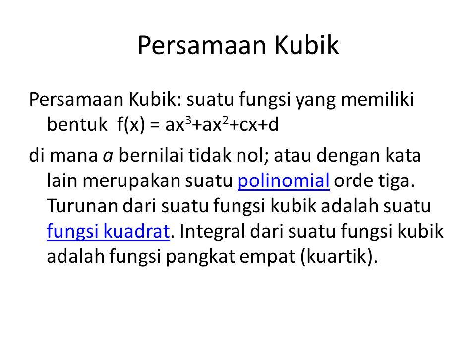 Persamaan Kubik Persamaan Kubik: suatu fungsi yang memiliki bentuk f(x) = ax 3 +ax 2 +cx+d di mana a bernilai tidak nol; atau dengan kata lain merupak