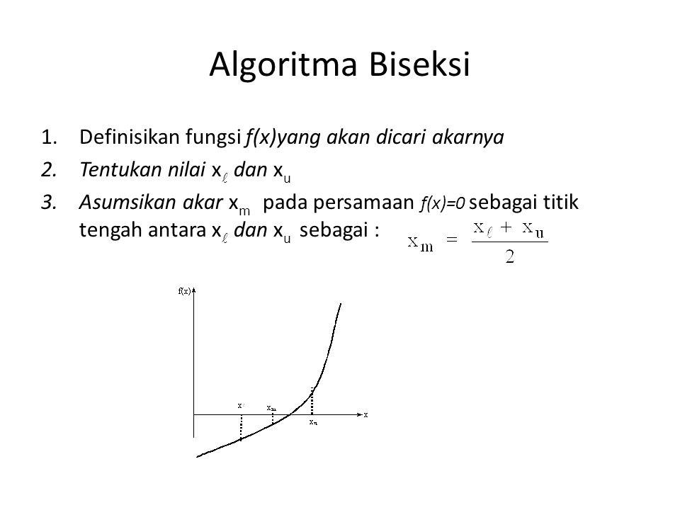 Algoritma Biseksi 1.Definisikan fungsi f(x)yang akan dicari akarnya 2.Tentukan nilai x dan x u 3.Asumsikan akar x m pada persamaan f(x)=0 sebagai titi