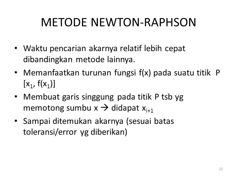 21 METODE NEWTON-RAPHSON Waktu pencarian akarnya relatif lebih cepat dibandingkan metode lainnya. Memanfaatkan turunan fungsi f(x) pada suatu titik P