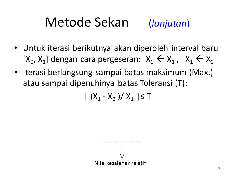 26 Metode Sekan (lanjutan) Untuk iterasi berikutnya akan diperoleh interval baru [X 0, X 1 ] dengan cara pergeseran: X 0  X 1, X 1  X 2 Iterasi berl