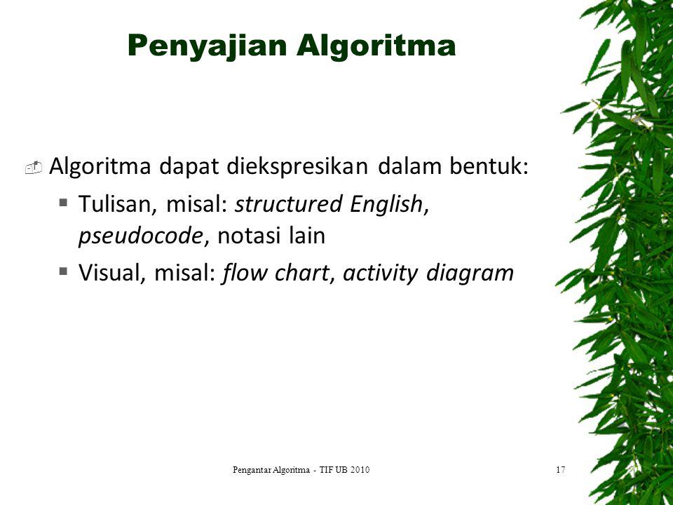 Penyajian Algoritma  Algoritma dapat diekspresikan dalam bentuk:  Tulisan, misal: structured English, pseudocode, notasi lain  Visual, misal: flow