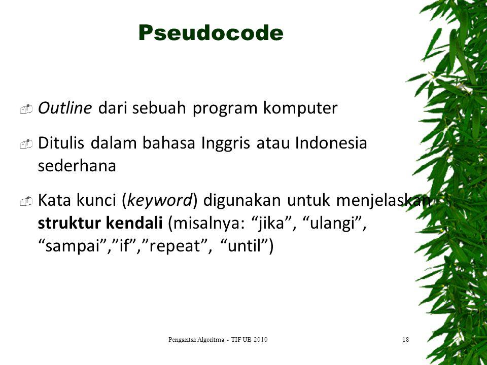  Outline dari sebuah program komputer  Ditulis dalam bahasa Inggris atau Indonesia sederhana  Kata kunci (keyword) digunakan untuk menjelaskan stru