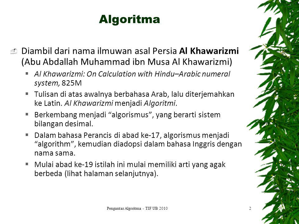 13 DEFINISI MASALAH MEMBUAT MODEL RANCANG ALGORITMA TULIS PROGRAM COMPILE Error Executable code: => Run Error DOKUMENTASI Tahap Pengembangan Algoritma Pengantar Algoritma - TIF UB 2010