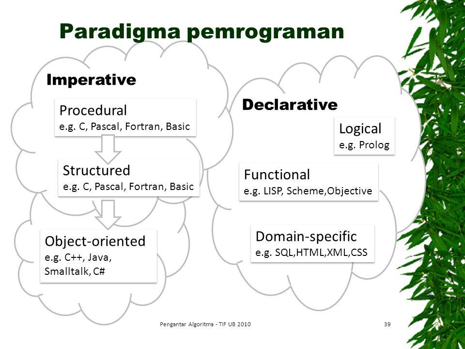 Declarative Imperative Paradigma pemrograman Pengantar Algoritma - TIF UB 201039 Procedural e.g. C, Pascal, Fortran, Basic Procedural e.g. C, Pascal,