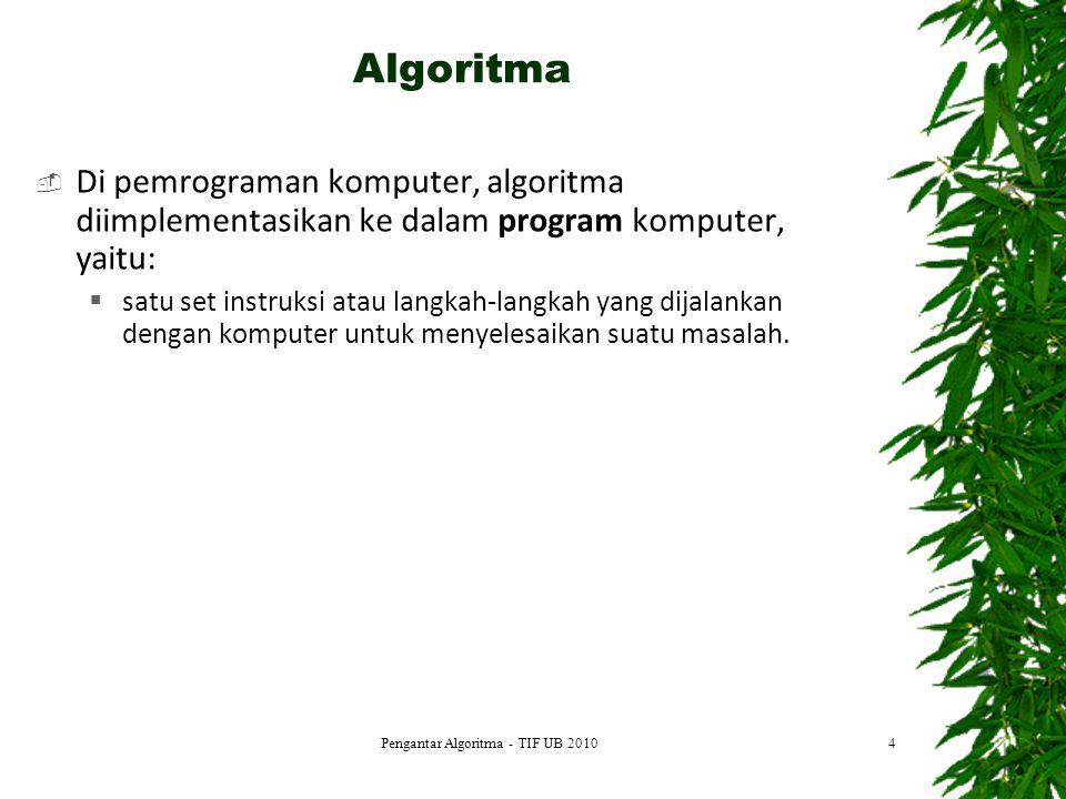 15 DEFINISI MASALAH MEMBUAT MODEL RANCANG ALGORITMA TULIS PROGRAM COMPILE Error Executable code: => Run Error DOKUMENTASI Tahap Pengembangan Algoritma Pengantar Algoritma - TIF UB 2010