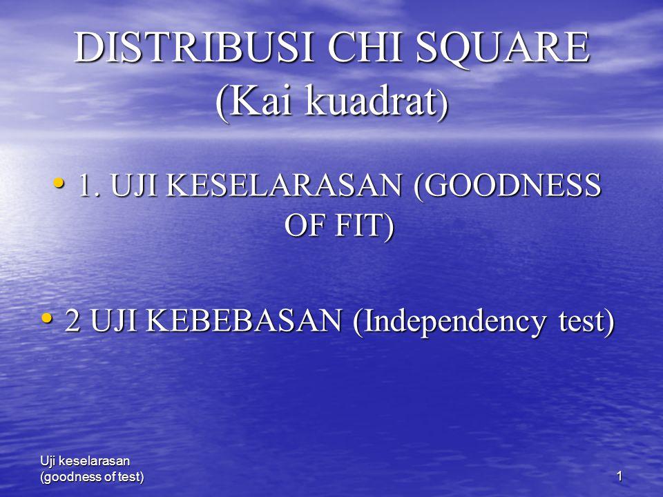 Uji keselarasan (goodness of test)1 DISTRIBUSI CHI SQUARE (Kai kuadrat ) 1. UJI KESELARASAN (GOODNESS OF FIT) 1. UJI KESELARASAN (GOODNESS OF FIT) 2 U